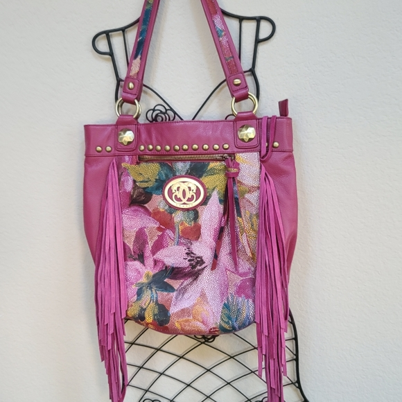 Sharif Floral Fringe Handbag EUC